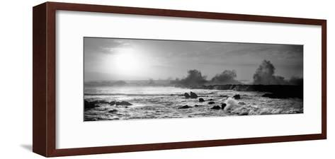 Waves Breaking on Rocks in the Ocean, Three Tables, North Shore, Oahu, Hawaii, USA--Framed Art Print