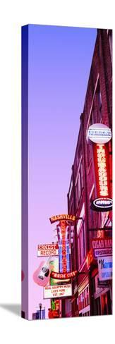 Neon Signs at Dusk, Nashville, Tennessee, USA--Stretched Canvas Print