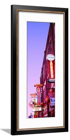 Neon Signs at Dusk, Nashville, Tennessee, USA--Framed Art Print