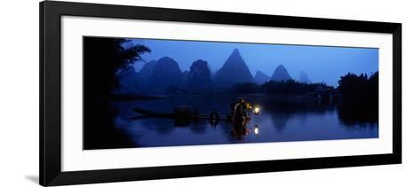 Fisherman Fishing at Night, Li River , China--Framed Art Print