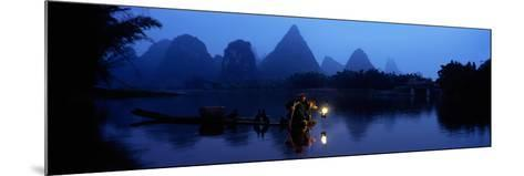 Fisherman Fishing at Night, Li River , China--Mounted Photographic Print