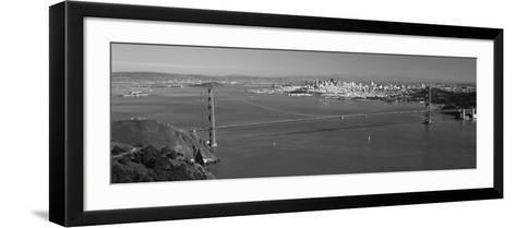 High Angle View of a Suspension Bridge, Golden Gate Bridge, San Francisco, California, USA--Framed Art Print