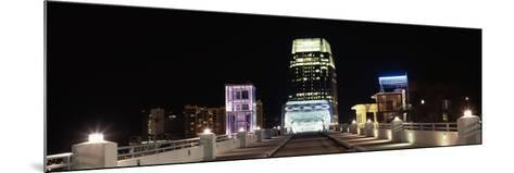 Skylines and Shelby Street Bridge at Night, Nashville, Tennessee, USA 2013--Mounted Photographic Print