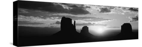 Silhouette of Buttes at Sunset, Monument Valley, Utah, USA--Stretched Canvas Print
