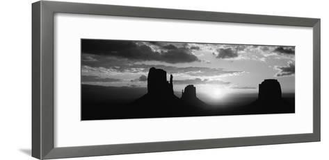 Silhouette of Buttes at Sunset, Monument Valley, Utah, USA--Framed Art Print