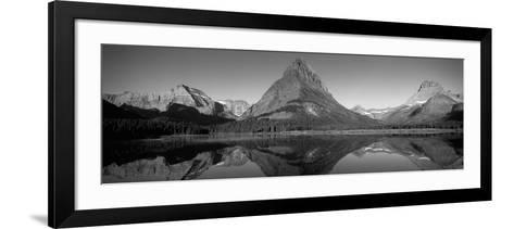 Reflection of Mountains in a Lake, Swiftcurrent Lake, Many Glacier, Us Glacier National Park--Framed Art Print