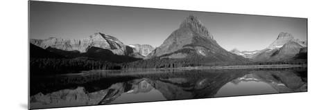 Reflection of Mountains in a Lake, Swiftcurrent Lake, Many Glacier, Us Glacier National Park--Mounted Photographic Print