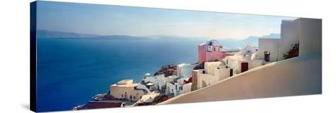 Town at the Waterfront, Santorini, Cyclades Islands, Greece--Stretched Canvas Print