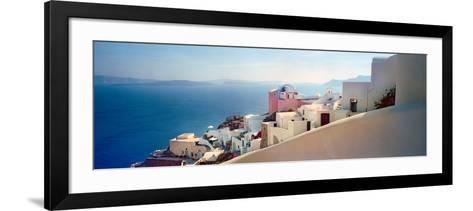 Town at the Waterfront, Santorini, Cyclades Islands, Greece--Framed Art Print