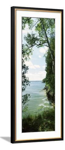 Trees at the Lakeside, Cave Point County Park, Lake Michigan, Door County, Wisconsin, USA--Framed Art Print