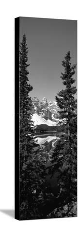 Lake in Front of Mountains, Banff, Alberta, Canada--Stretched Canvas Print