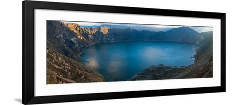 Lake Surrounded by Mountains, Quilotoa, Andes, Cotopaxi Province, Ecuador--Framed Art Print