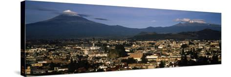 Aerial View of a City a with Mountain Range in the Background, Popocatepetl Volcano, Cholula--Stretched Canvas Print