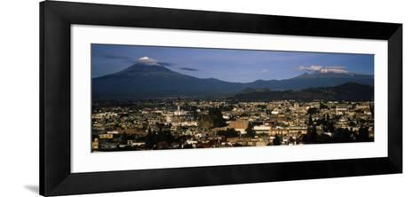 Aerial View of a City a with Mountain Range in the Background, Popocatepetl Volcano, Cholula--Framed Art Print