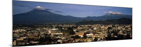 Aerial View of a City a with Mountain Range in the Background, Popocatepetl Volcano, Cholula--Mounted Photographic Print