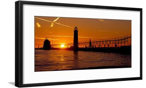 Grand Haven Lighthouse at Sunset, Grand Haven, Michigan, USA--Framed Art Print