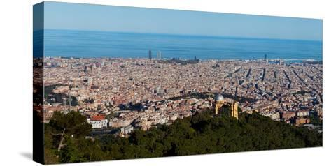 Aerial View of a City, Barcelona, Catalonia, Spain--Stretched Canvas Print