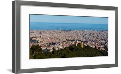 Aerial View of a City, Barcelona, Catalonia, Spain--Framed Art Print