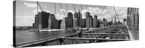 Traffic on a Bridge, Brooklyn Bridge, Manhattan, New York City, New York State, USA--Stretched Canvas Print