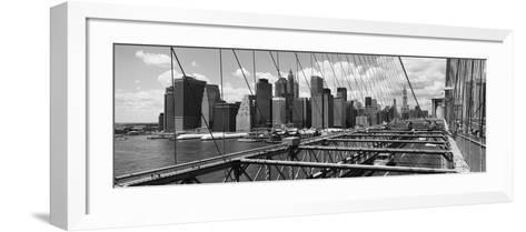 Traffic on a Bridge, Brooklyn Bridge, Manhattan, New York City, New York State, USA--Framed Art Print