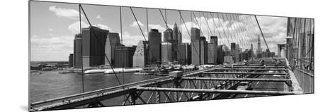 Traffic on a Bridge, Brooklyn Bridge, Manhattan, New York City, New York State, USA--Mounted Photographic Print