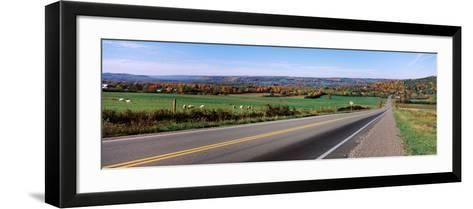 Road Passing Through a Field, Finger Lakes, New York State, USA--Framed Art Print