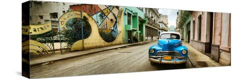 Old Car and a Mural on a Street, Havana, Cuba--Stretched Canvas Print