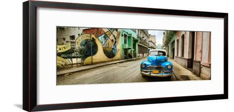 Old Car and a Mural on a Street, Havana, Cuba--Framed Art Print