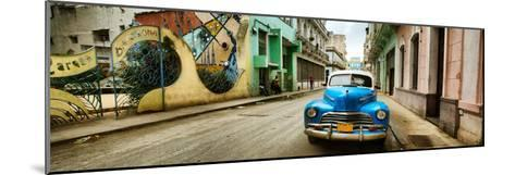Old Car and a Mural on a Street, Havana, Cuba--Mounted Photographic Print