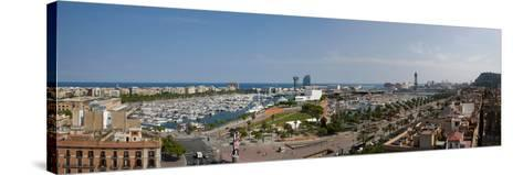High Angle View of a Harbor, Port Vell, Barcelona, Catalonia, Spain--Stretched Canvas Print