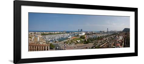 High Angle View of a Harbor, Port Vell, Barcelona, Catalonia, Spain--Framed Art Print