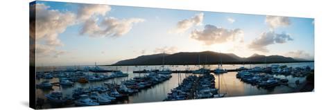 Boats at a Marina at Dusk, Shangri-La Hotel, Cairns, Queensland, Australia--Stretched Canvas Print