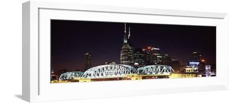 Skylines and Shelby Street Bridge at Night, Nashville, Tennessee, USA 2013--Framed Art Print