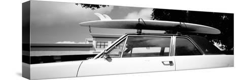 Usa, California, Surf Board on Roof of Car--Stretched Canvas Print