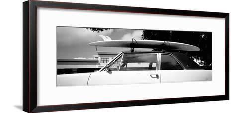 Usa, California, Surf Board on Roof of Car--Framed Art Print