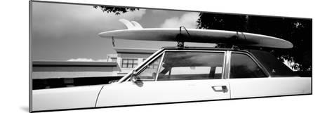 Usa, California, Surf Board on Roof of Car--Mounted Photographic Print