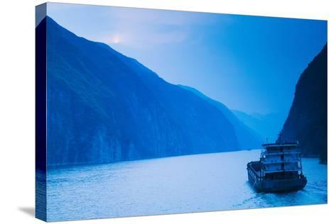 Container Ship in the River at Sunset, Wu Gorge, Yangtze River, Hubei Province, China--Stretched Canvas Print