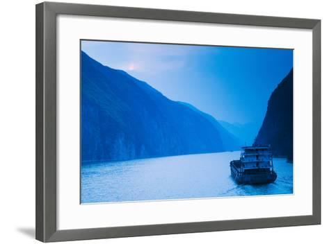 Container Ship in the River at Sunset, Wu Gorge, Yangtze River, Hubei Province, China--Framed Art Print
