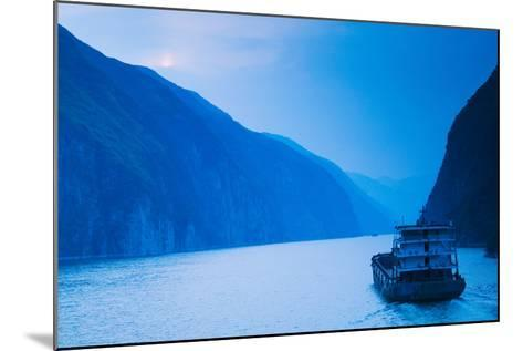 Container Ship in the River at Sunset, Wu Gorge, Yangtze River, Hubei Province, China--Mounted Photographic Print