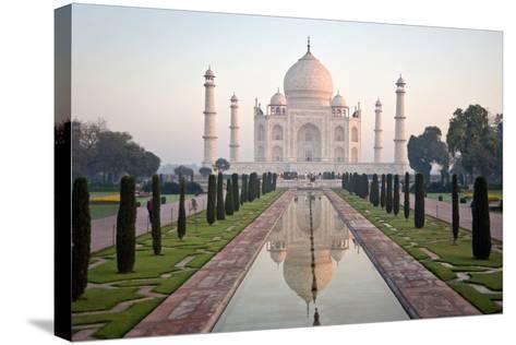 Reflection of a Mausoleum in Water, Taj Mahal, Agra, Uttar Pradesh, India--Stretched Canvas Print