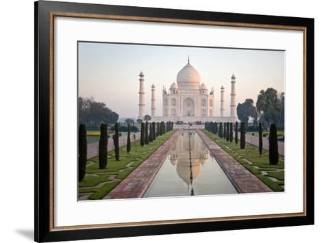 Reflection of a Mausoleum in Water, Taj Mahal, Agra, Uttar Pradesh, India--Framed Art Print