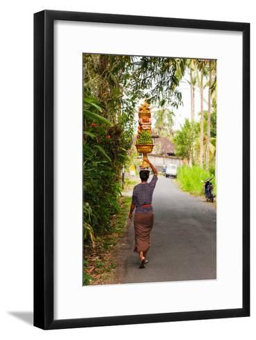 Woman Carrying Offering to Temple, Pejeng Kaja, Tampaksiring, Bali, Indonesia--Framed Art Print
