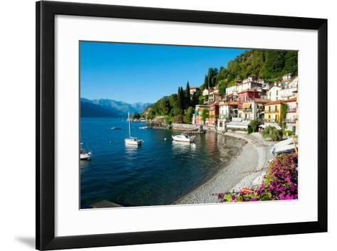 Houses at Waterfront with Boats on Lake Como, Varenna, Lombardy, Italy--Framed Art Print