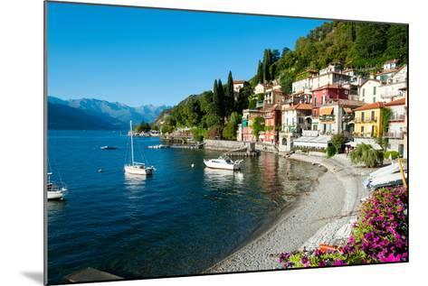 Houses at Waterfront with Boats on Lake Como, Varenna, Lombardy, Italy--Mounted Photographic Print