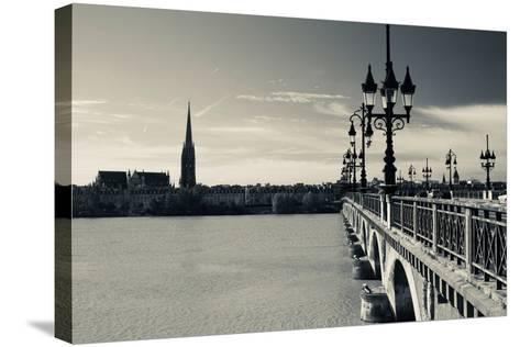 Pont De Pierre Bridge across Garonne River, Bordeaux, Gironde, Aquitaine, France--Stretched Canvas Print