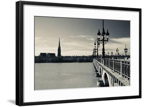 Pont De Pierre Bridge across Garonne River, Bordeaux, Gironde, Aquitaine, France--Framed Art Print