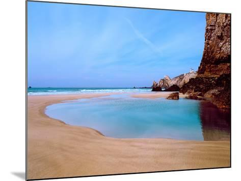 Beach with a Lighthouse in the Background, Pointe Du Toulinguet, Crozon, Finistere, Brittany--Mounted Photographic Print