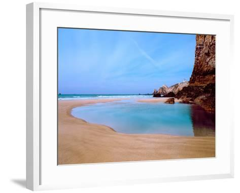 Beach with a Lighthouse in the Background, Pointe Du Toulinguet, Crozon, Finistere, Brittany--Framed Art Print