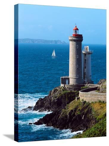 Lighthouse at the Coast, Phare Du Petit Minou, Goulet De Brest, Finistere, Brittany, France--Stretched Canvas Print