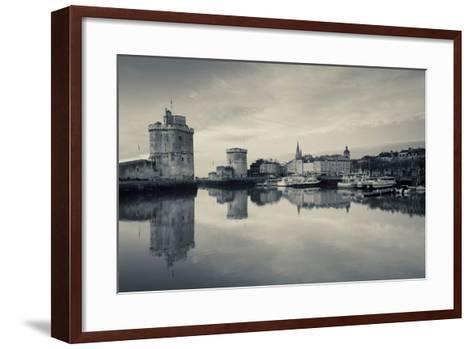 Tour St-Nicholas and Tour De La Chaine Towers at Dawn, Old Port, La Rochelle, Charente-Maritime--Framed Art Print